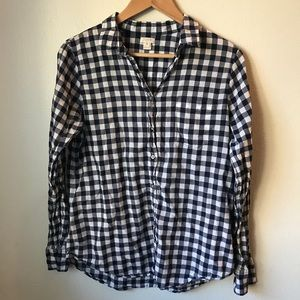 J. Crew Womens Navy Checkered Top Size M